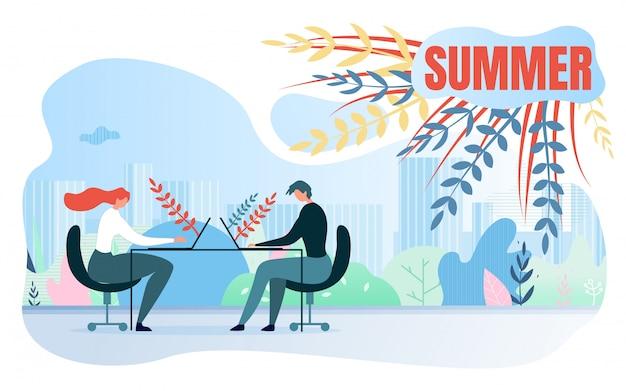 ベクトル図碑文夏の漫画。夏季の事務作業 無料ベクター