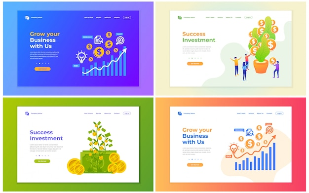 Vector illustration of investment, financial, and business growing. modern vector illustration concepts for website and mobile website development. Premium Vector