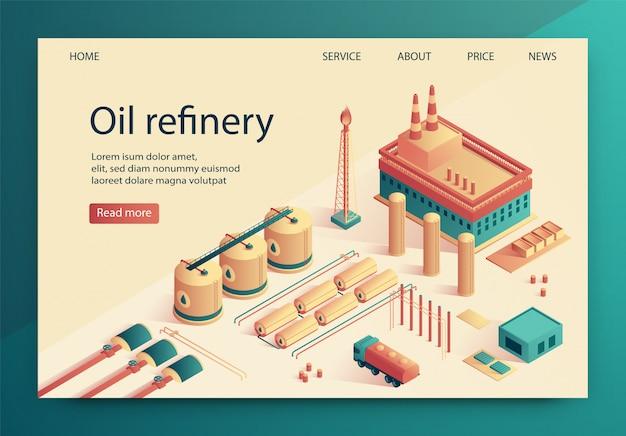 Vector illustration is written oil refinery slide. Premium Vector
