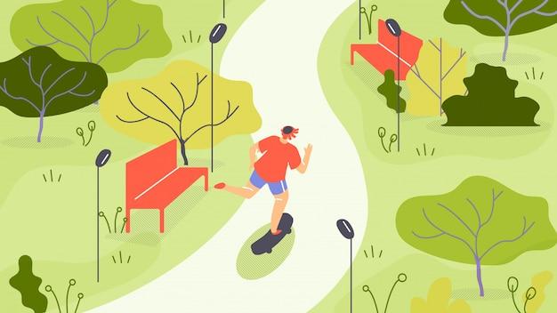 Vector illustration jogging in park cartoon flat. Premium Vector