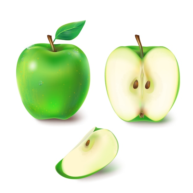 Vector illustration of a juicy green apple. Free Vector