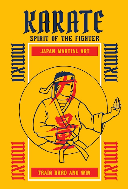 Vector illustration of karate fighter with japanese word means strength Premium Vector