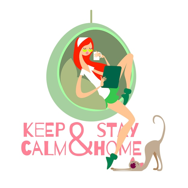 Vector illustration keep calm and stay home. girl and cat at home Premium Vector