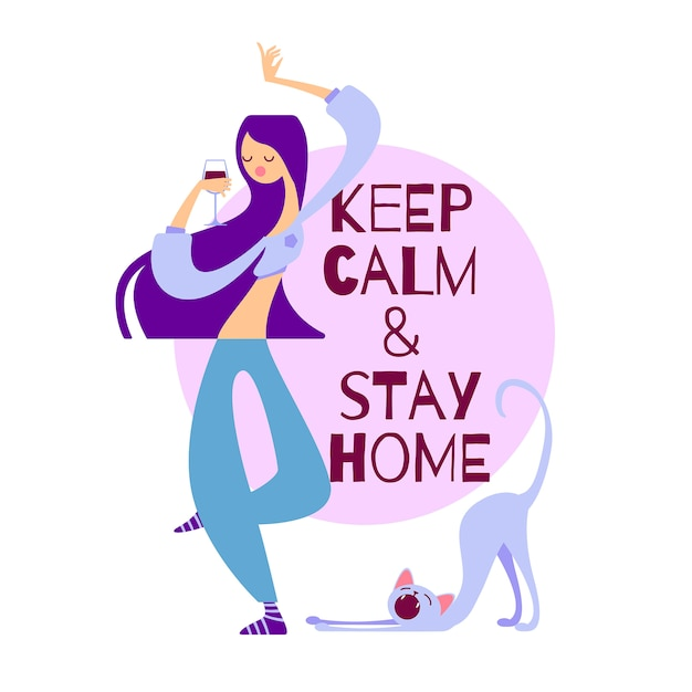 Vector illustration keep calm and stay home. girl dancing Premium Vector