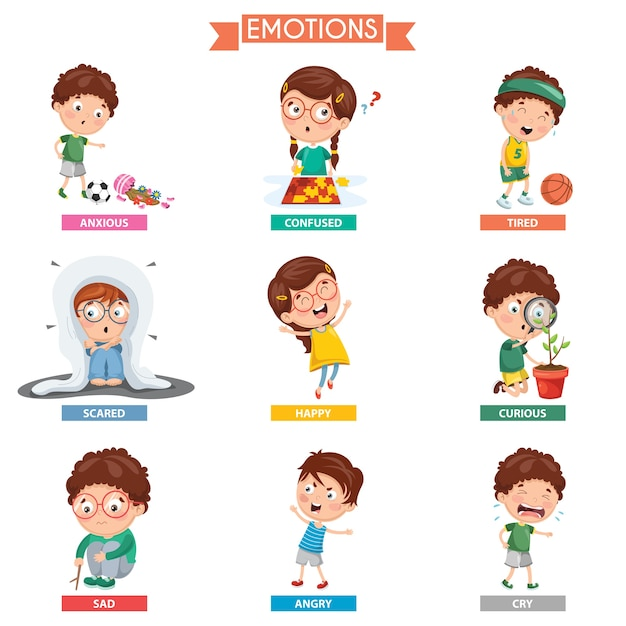 Sad Boy Alone Quotes: Vector Illustration Of Kid Emotions Vector