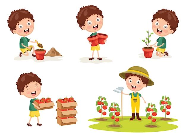 Vector illustration of kid farmer Premium Vector