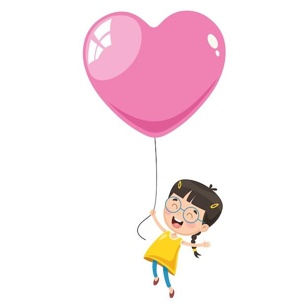 Vector illustration of kid flying with balloon Premium Vector