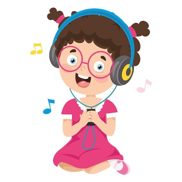 Vector illustration of kid listening music Premium Vector