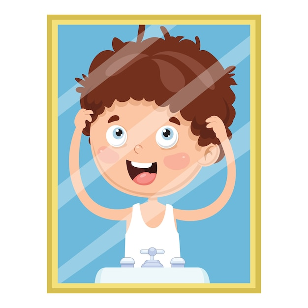 Vector illustration of kid looking at the mirror Premium Vector