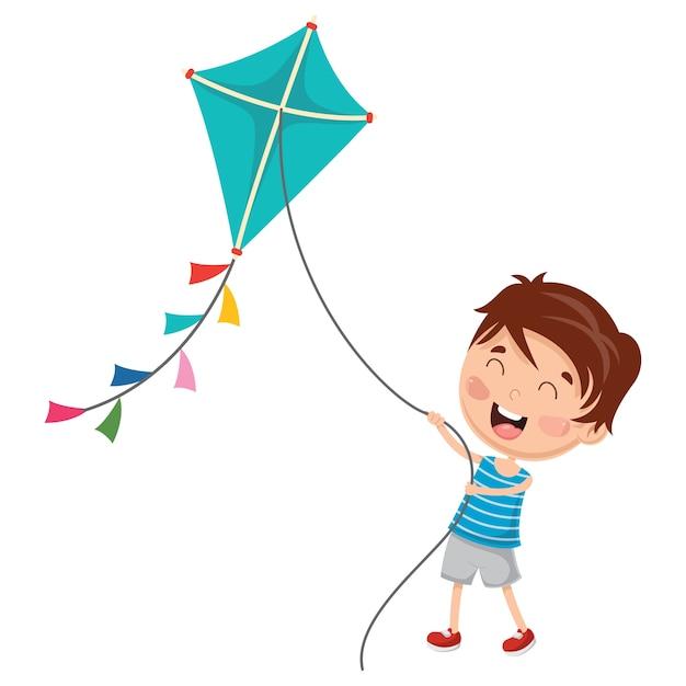 Vector illustration of kid playing kite Premium Vector