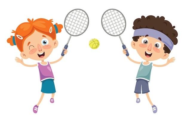 Vector illustration of kid playing tennis Premium Vector