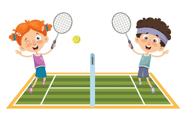 Vector illustration of kid playing tennis Premium Vector