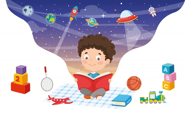 Vector illustration of kid reading book Premium Vector