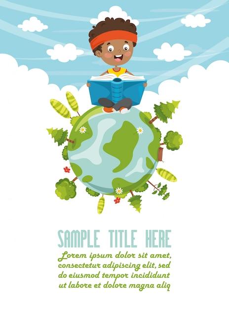 Vector illustration of kid reading book Premium Vector