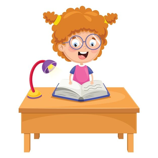 Vector illustration of kid reading Premium Vector