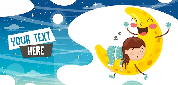 Vector illustration of kid sleeping on moon Premium Vector