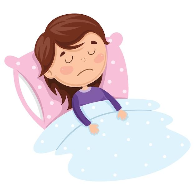 Vector illustration of kid sleeping Premium Vector