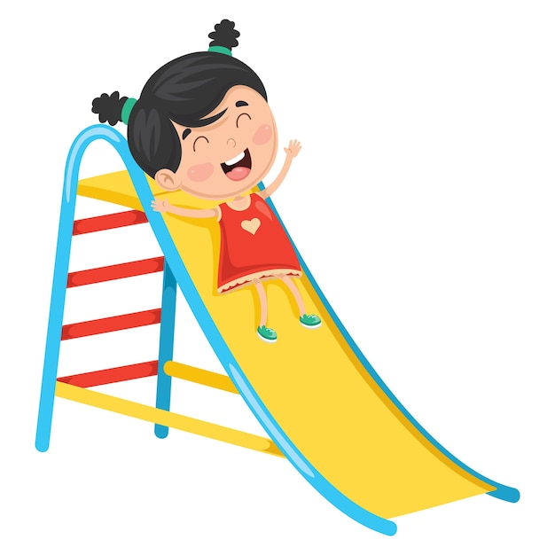 Vector illustration of kid sliding Premium Vector