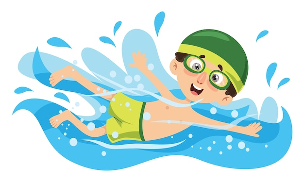 Vector illustration of kid swimming Premium Vector