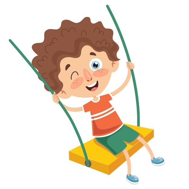 Vector illustration of kid swinging Premium Vector