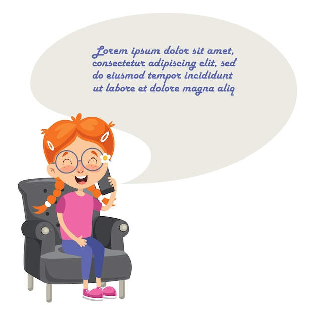 Vector illustration of kid talking on phone Premium Vector