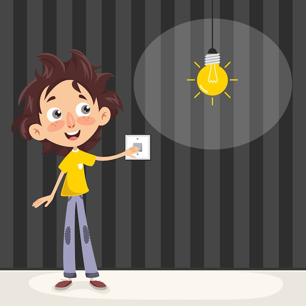 Vector illustration of a kid turning on the light Premium Vector
