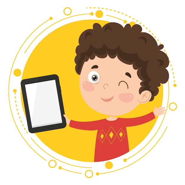Vector illustration of kid using tablet pc Premium Vector