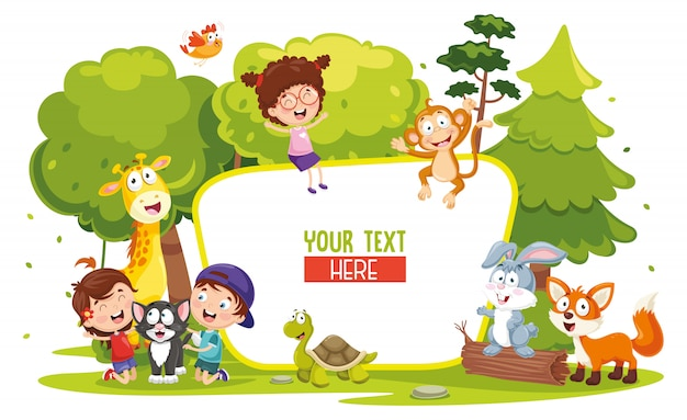 Vector illustration of kids and animals Premium Vector