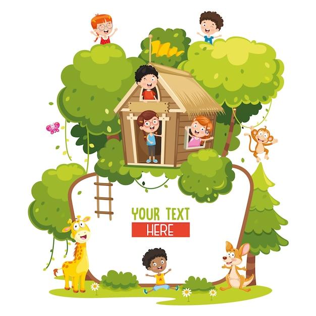 Vector illustration of kids and animals Premium Vector