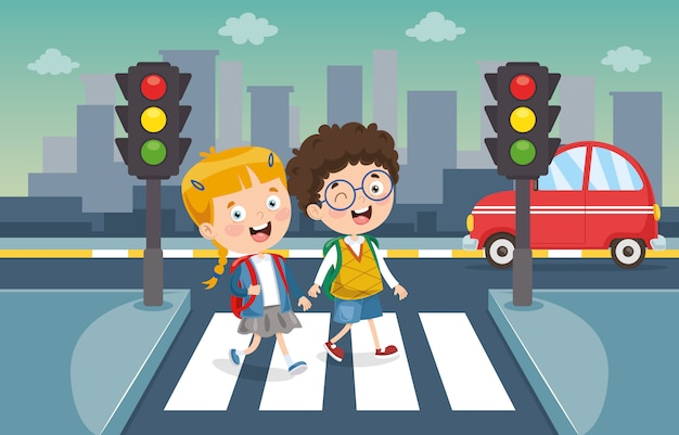 Vector illustration of kids crossing traffic Premium Vector