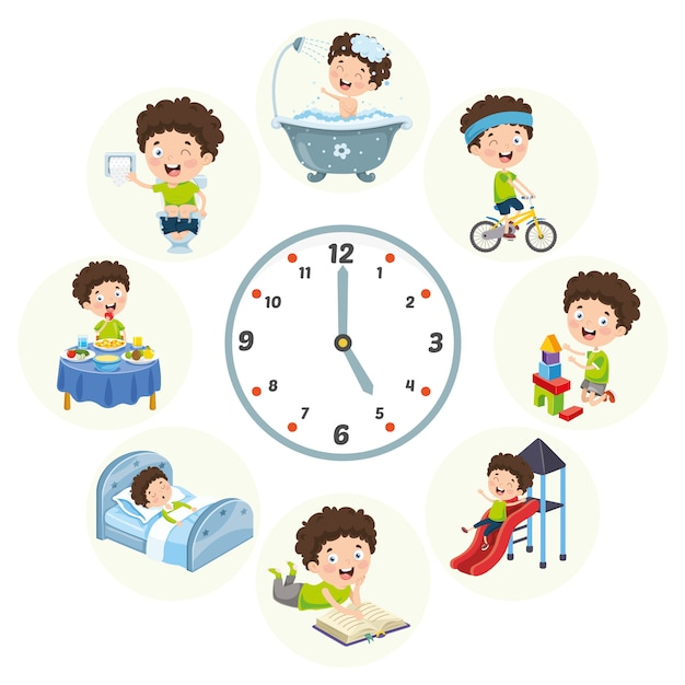 Vector illustration of kids daily routine activities Premium Vector