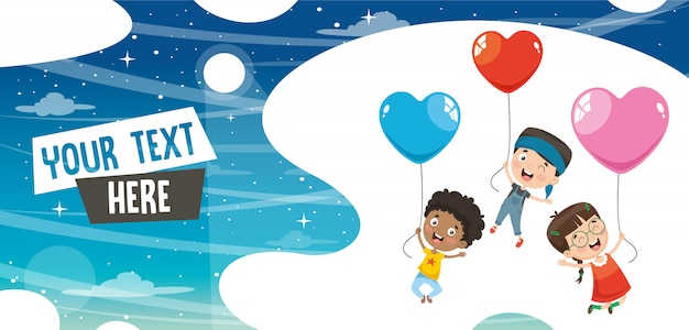 Vector illustration of kids flying with balloons Premium Vector
