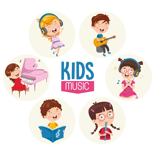Vector illustration of kids music Premium Vector