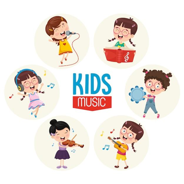 Vector illustration of kids music Premium Vector