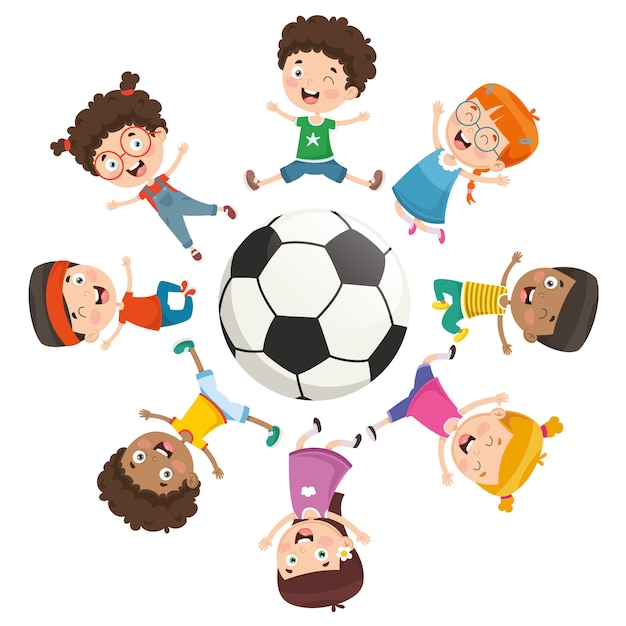 Vector illustration of kids playing around a ball Premium Vector