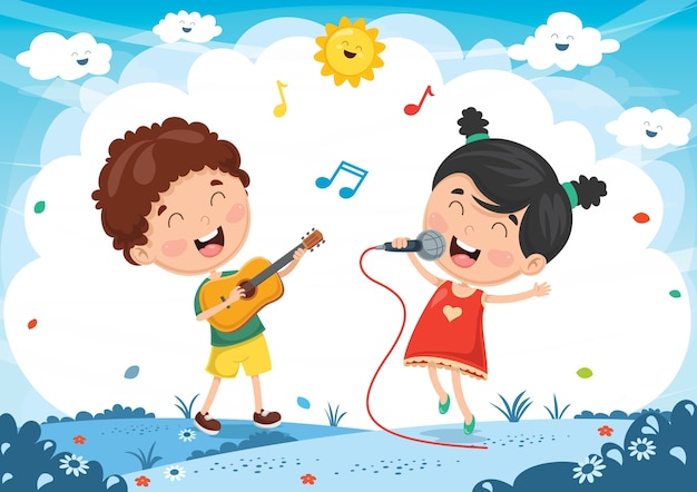 Vector illustration of kids playing music and singing Premium Vector