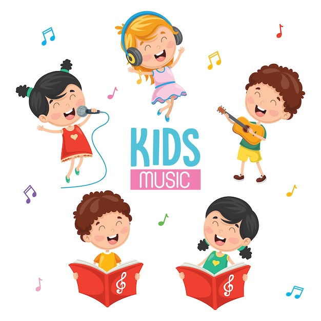 Vector illustration of kids playing music Premium Vector