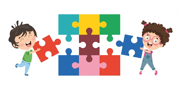Vector illustration of kids playing puzzle Premium Vector