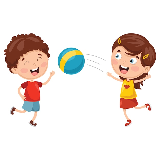Vector illustration of kids playing with ball Premium Vector