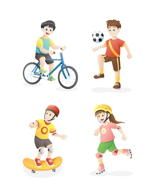 Vector illustration of kids playing Premium Vector