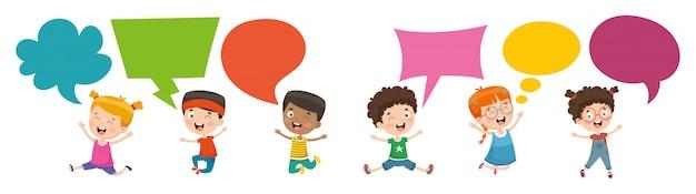 Vector illustration of kids speech bubble Premium Vector