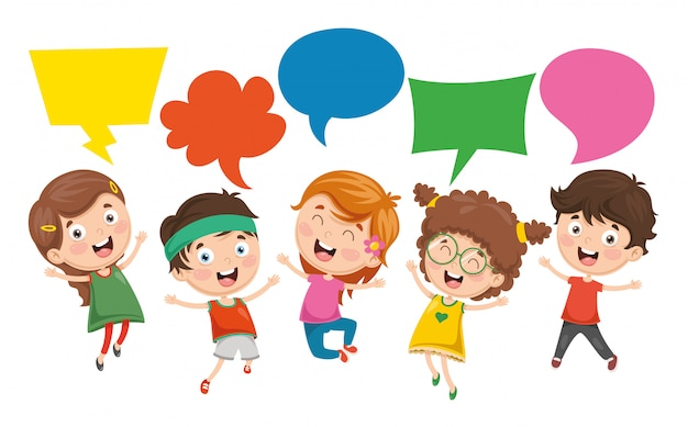 Vector illustration of kids speech bubble Premium Vector