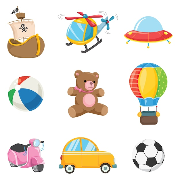 Vector illustration of kids toys Premium Vector