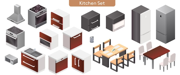 Vector illustration of kitchen modern interior furniture set. isometric view of stove, kitchen hood, cabinets, sink, microwave, electric kettle, dinner tables, chairs, refrigerator isolated objects Premium Vector