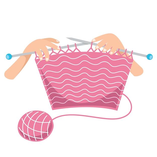 Vector illustration of knitting Premium Vector