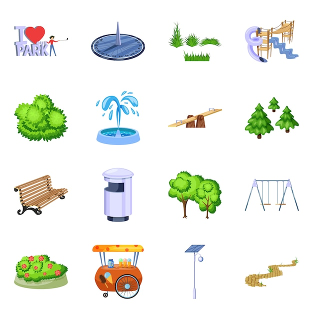 Vector illustration of landscape and park icon. collection of landscape and nature set Premium Vector