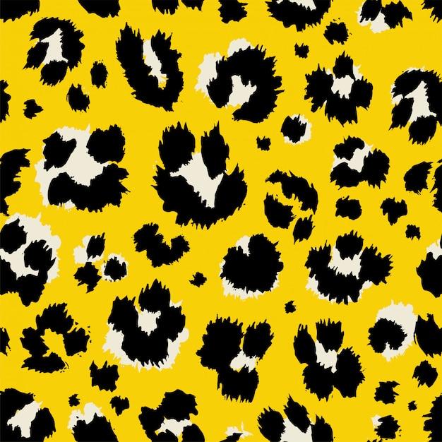 Vector illustration leopard print seamless pattern Premium Vector
