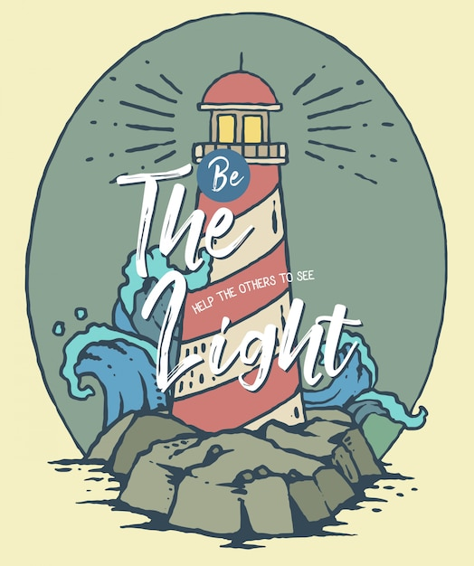 Vector illustration of lighthouse on the sea Premium Vector