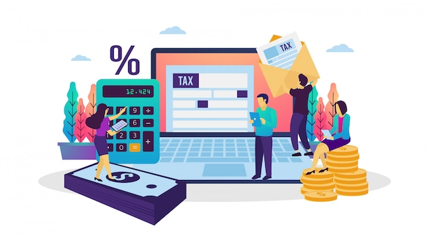 Vector illustration of on-line tax payment Premium Vector