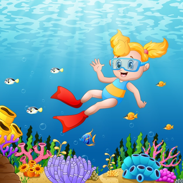 Vector illustration of little girl diving in the sea Premium Vector